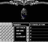 Might and Magic: Book One - Secret of the Inner Sanctum NES Encountered a skeleton.
