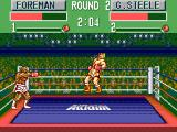 George Foreman's KO Boxing SEGA Master System Super punches launch the opponent to the other part of the ring.