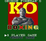 George Foreman's KO Boxing Game Gear Title screen