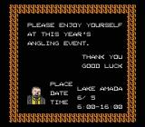 The Black Bass NES Welcome screen by the gray bearded man as you start the game. A nice 10 hours of fishing ahead.