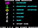 Atic Atac ZX Spectrum Start menu