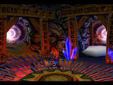 Crash Bandicoot 2: Cortex Strikes Back PlayStation Hub area. Choosing a level to go to.