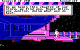 "Space Quest II: Chapter II - Vohaul's Revenge DOS Start of the game: ""Sweating like a pork-beast in a pressure suit while relocating space debris in zero gravity""."