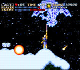 ActRaiser SNES Boss fighting in side-scrolling mode