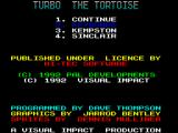 Turbo the Tortoise ZX Spectrum Main menu and credits