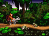 Donkey Kong Country SNES Riding a rhinoceros. Watch out, pesky frogs!