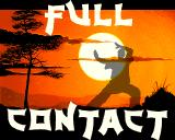 Full Contact Amiga Title screen with a training fighter.