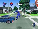 Pepsiman PlayStation Jumping; the key to survival in this suburban jungle of dump trucks, construction workers and pedestrians.