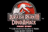 Jurassic Park III: Island Attack Game Boy Advance European title screen.