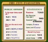 SimCity SNES Public Opinion offers detailed information on issues and the player's score.