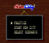 SimCity SNES The main menu