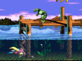 Donkey Kong Country 3: Dixie Kong's Double Trouble! SNES Swimming. This croc awaits us the monkey up on the platfrom