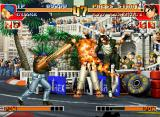 The King of Fighters '97 Neo Geo CD Through his attack 100 Shiki: Oniyaki, Kyo Kusanagi attempts to hit-stop Clark Steel's Vulcan Punch.