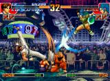 The King of Fighters '97 Neo Geo CD Now, Leona attempts to hit-connect her attack X-Calibur against Kim Kaphwan's move Hangetsu Zan...