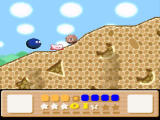 Kirby's Dream Land 3 SNES Climbing up a hill, avoiding those little pesky suckers