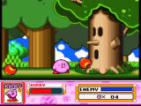 Kirby Super Star SNES The tree throws apples on you: you have to inhale them and then to spit on the tree to defeat it