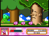 Kirby Super Star SNES The boss is defeated, the level is completed, Kirby is now three, and look at this sad tree