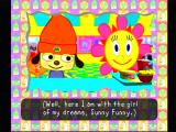 PaRappa ogles the flower of his dreams, Sunny Funny.