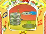 Richard Scarry's Busytown Windows A robotic arm finds the disk and puts it on the turntable.