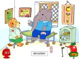 Richard Scarry's Busytown Windows Norbert is full of aches and pains - this one was caused by the good Doctor giving a shot.
