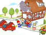 Richard Scarry's Busytown Windows Saving Father Cat as he leaps from his burning house.