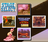 Wild Guns SNES Stage select after the Carson City level