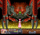 Wild Guns SNES Annie faces the Gold Mine boss. It's a robotic crab!