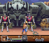 Wild Guns SNES Final Battle, two droids guard the spaceship