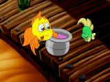 Freddi Fish 4: The Case of the Hogfish Rustlers of Briny Gulch Windows Freddi is dunking her hat in a SPITTOON! Yuck.