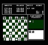 The Chessmaster NES The War Room view where the player can see past moves, captured pieces, and a chance to see the Chessmaster 'think' in the top right.