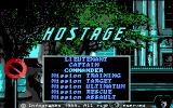 Hostage: Rescue Mission DOS Title and menu (EGA)