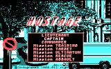 Hostage: Rescue Mission DOS Title and menu (CGA)