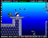 Venus the Flytrap Amiga Using the mortar-weapon to kill an enemy below me.