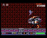 Turrican II: The Final Fight Amiga Jumping over an enemy that can't be killed.