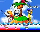 Bishi Bashi Special PlayStation HBB: when the rods shake, pull up the fish before your opponent.