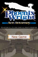 Phoenix Wright: Ace Attorney Nintendo DS Title screen