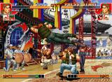 The King of Fighters '97 Neo Geo CD Now, P1 Ralf Jones attempts to hit-damage P2 Ralf Jones through his spinning-based attack Ralf Kick!