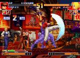 The King of Fighters '97 Neo Geo CD While a hit-damaged Blue Mary continues to fall, Chris' SDM Twister Drive remains completely active!