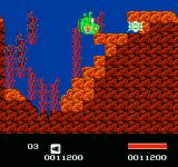 Puss N Boots: Pero's Great Adventure NES Destroying bricks while underwater.