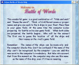 Battle of Words Windows Help screen