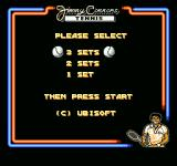 Jimmy Connors Tennis NES Decide the number of sets you want the game to have.