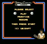 Jimmy Connors Tennis NES You can either play, practice, or resume a game.