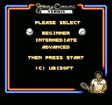 Jimmy Connors Tennis NES Choose your skill level.
