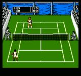 Jimmy Connors Tennis NES Tennis ball going over the net.