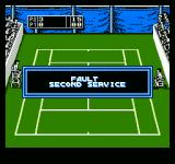 Jimmy Connors Tennis NES The umpires give their rulings in these big dialogue boxes.