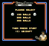 Jimmy Connors Tennis NES Choosing the amount of balls you want to practice swing with.