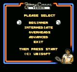 Jimmy Connors Tennis NES Choose what type of practice you want.