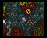 Blastar Amiga Surrounded by hostile spheres, in some kind of volcanic environment.