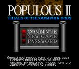 Populous II: Trials of the Olympian Gods SNES Main Menu