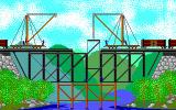 Sid Meier's Railroad Tycoon DOS My workers are building a iron girder bridge.